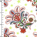 Fabric Paisley Floral - White x10cm