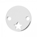 Spacer round 2 holes star 15 mm Silver 925 Sterling x1