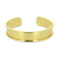 Eco Brass bracelet base with curved edge 15mm gold tone x1