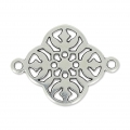 Flower filigreed spacer 2 loops 20mm old silver tone x1
