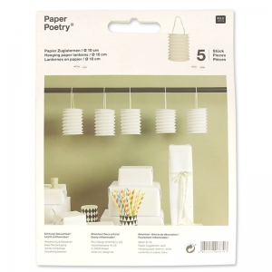 Set of 5 paper lanterns Paper Poetry 10 cm white