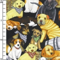 Fabric It's A Ruff Life - Packed Dogs Black x10cm