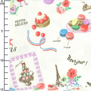 fabric Sweet Rondeaux - Sweets from Paris Cream x10cm