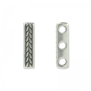 Spacer 3 rows 15x3.5 mm old silver tone x1