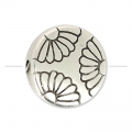 Puck Flower pattern 11.5 mm old silver tone x1