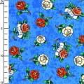Fabric Love Is True by Ed Hardy - Ultramarine Roses x10cm