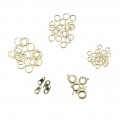 Assortment of 4 clasps and 54 rings Made by Me gold tone