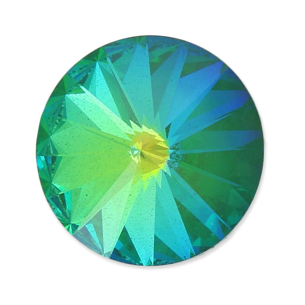 df4b7220f Swarovski 1122 Rivoli Round Stone 18mm Crystal AB Ultra Emerald - Perles &  Co