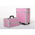 Pink Beauty Rolling aluminum Cosmetic Case  x1