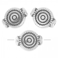 Discus beads 10x8 mm old silver tone x4