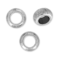 Flat round big hole beads  5x2.4 mm old silver tone x5
