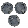 Flat faceted round 8mm Graphite x1