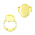Raw setting ring base with 18x13mm setting Gold tone  x1