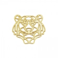 925 Sterling Silver Gold tone Tiger spacer 18.5mm x1