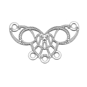 Wings heart spacer  19,5x12mm in 925 Sterling Silver x1