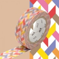 Masking Tape 15 mm Entrelacs Multicolore Slash Red x10m