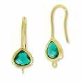 Earwires 27 mm  Emerald/golden  HQ x2