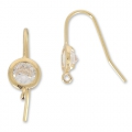 Earwires 19 mm Crystal/gold tone HQ x2