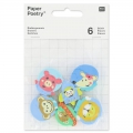 Assortment of 6 erasers 30 mm Pets Space
