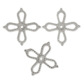 Mini-stamped flowers 10 mm rhodium x10