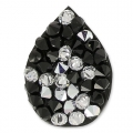 Crystal Rocks drop Swarovski 343913 20x15 mm Jet/Crystal CAL x1