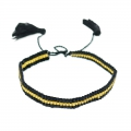 Seed beads Friendship bracelet 7 mm Black/gold tone