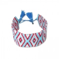 Seed beads Friendship bracelet navajo pattern28 mm Light blue/Sapphire