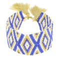 Seed beads Friendship bracelet navajo pattern28 mm Navy/Sand