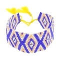 Seed beads Friendship bracelet navajo pattern28 mm Cobalt/Yellow
