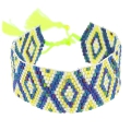 Seed beads Friendship bracelet navajo pattern 28 mm Dark Blue Iris/Yellow