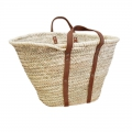 Basket in palm and leather handles 36x57 cm Natural x1