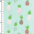 Fabric Tropical Spring - Pattern pineaple Mint x10cm