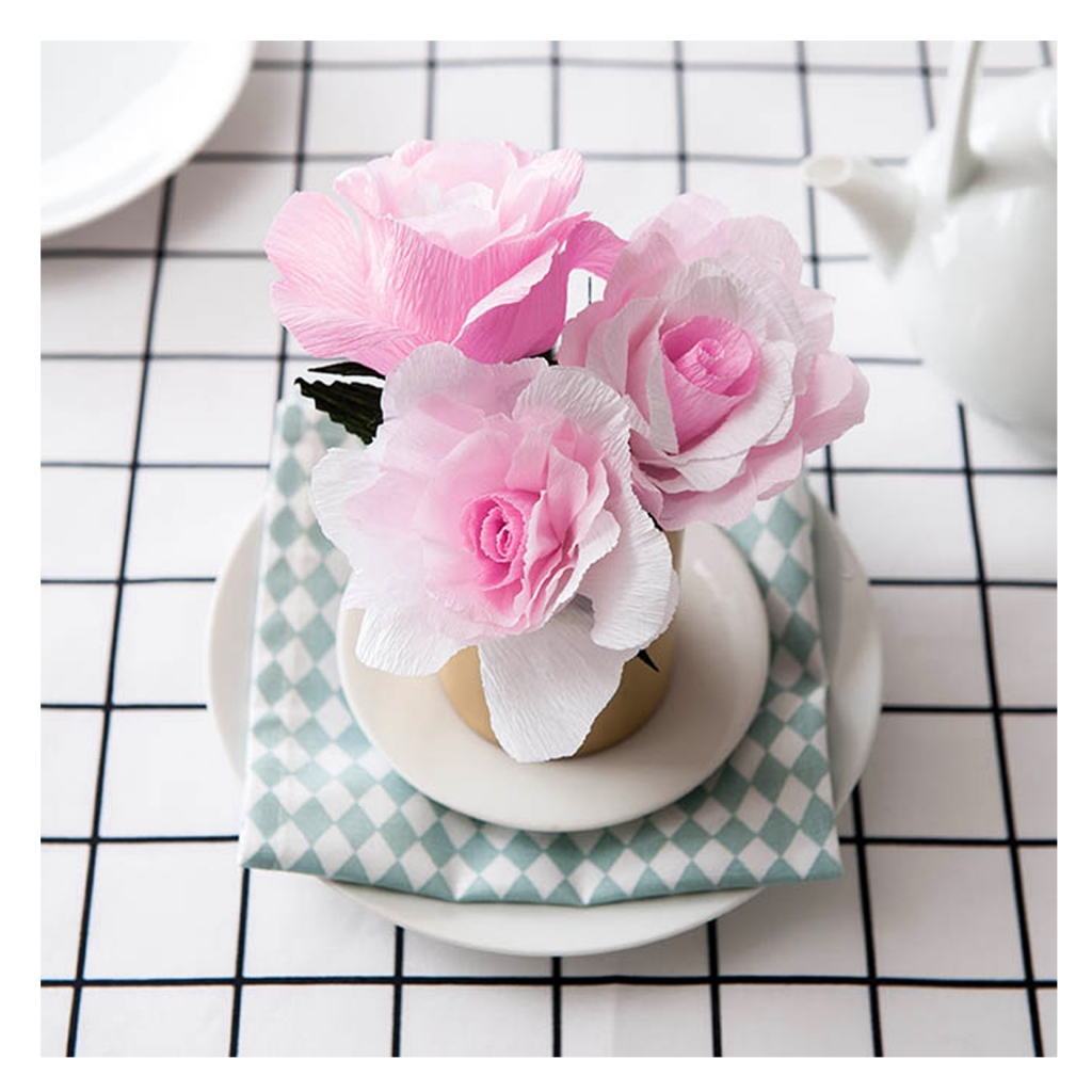 Diy Kit With Paper Flowers Rose X1 Paper Poetry Perles Co