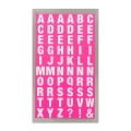 Assortment of 240 Office Stickers Paper Poetry letters 10mm Rose Fluo