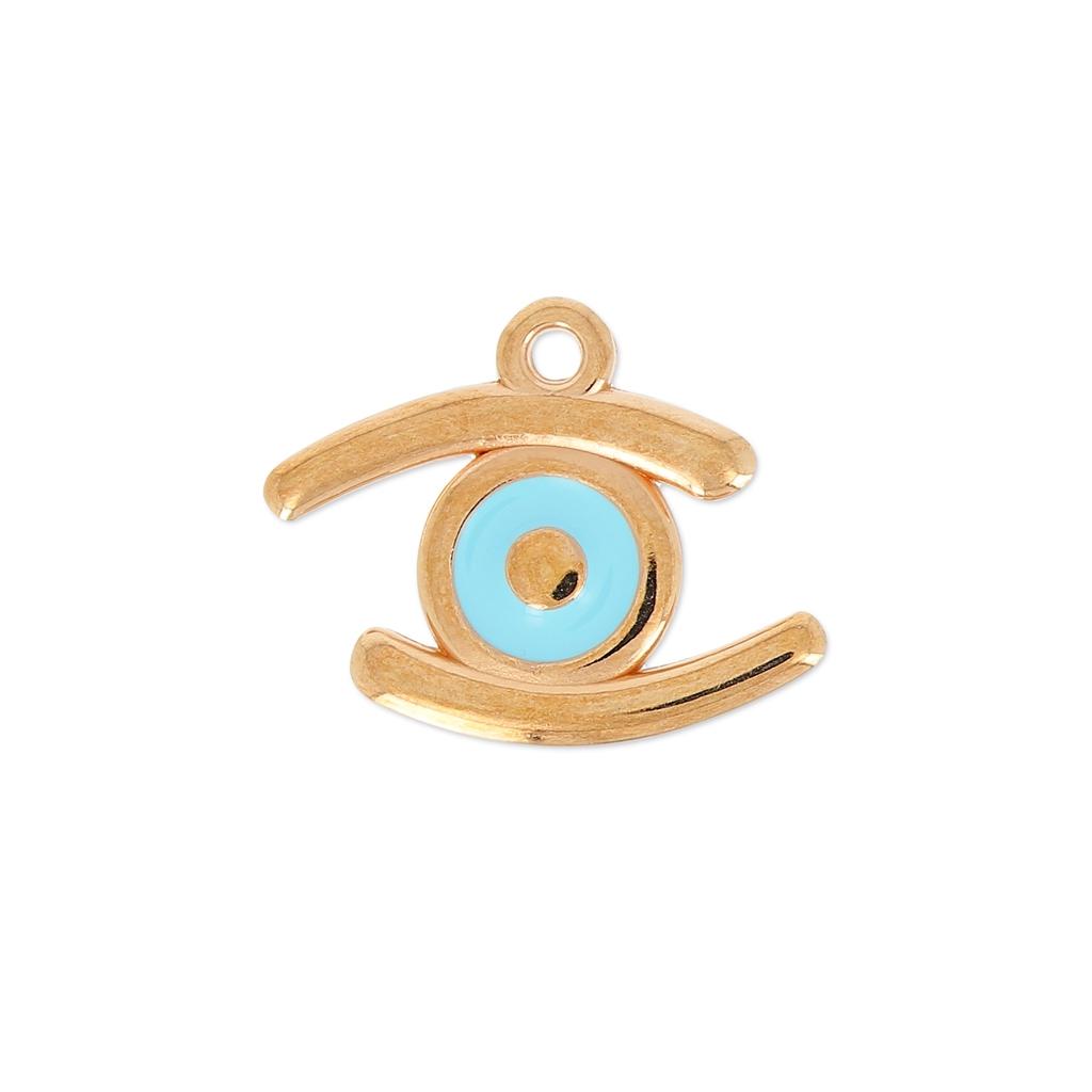 breloque oeil porte bonheur r sine poxy 23 mm bleu ciel gold tone perles co. Black Bedroom Furniture Sets. Home Design Ideas