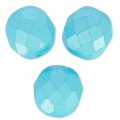 Fire Polished faceted round beads 8mm Pastel Aqua x20