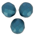 Fire Polished faceted round beads 8mm Pastel Petrol x20
