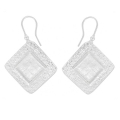 Earring to decorate square pattern 26 mm silver tone x2