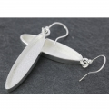 Earring to decorate long oval pattern 43 mm silver tone x2