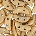 Czechmates Crescent 2 holes 3 x 10 mm Gold Mat x5g