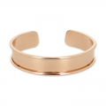 Eco Brass bracelet base with curved edge 15mm gold tone rose x1