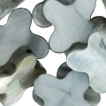 Flower beads  Mother-of-Pearl Star 15mm Grey x10