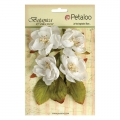 Set of 4 flowers in fabric Petaloo Botanica White