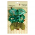 Set of 4 flowers in fabric Petaloo Botanica Teal