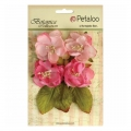 Set of 4 flowers in fabric Petaloo Botanica Rose