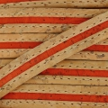 Bicolor lace stitched cork 10 mm Natural/Orange x 50cm