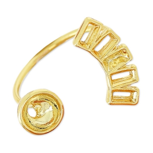 Ring with settings for Swarovski 1088/5817 6mm and 4501 4x2 mm Gold tone