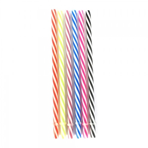Assortment of 6 straws for Glass jar White and colored striped x1
