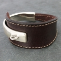 Leather bracelet base 3 holes 147mm Brun x1