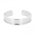 Eco Brass bracelet base with curved edge 15mm silver tone x1